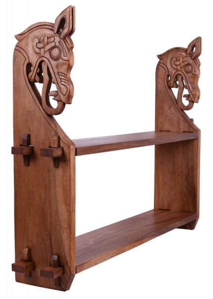 Großes Holzregal mit Wikinger-Drachenköpfen
