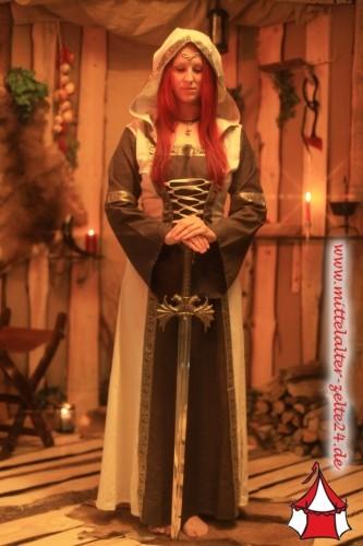 Mittelalter Kleid Anja mit Kapuze