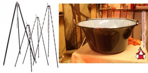 Set:Gulaschkessel mit Deckel & Dreibein