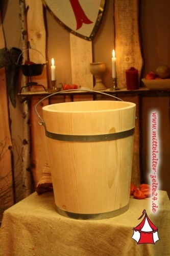 Mittelalter Holzeimer, ca. 10 Liter, Fichte