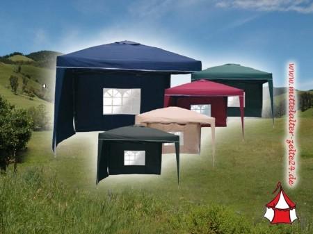 PU Alu Faltpavillon 3x3 mit 2 Seitenwänden wasserdicht