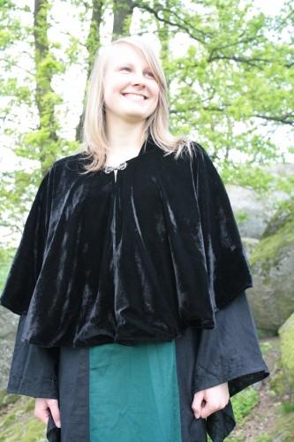 Mittelalter Samtcape Julia schwarz